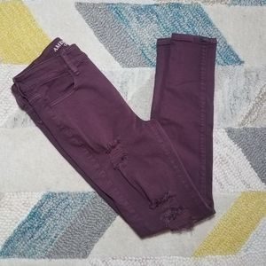 American Eagle Maroon Distressed Jeggings 4